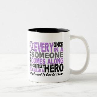 Lymphoma Hodgkin's HERO COMES ALONG 1 Friend Two-Tone Coffee Mug