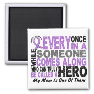 Lymphoma Hodgkin's HERO COMES ALONG 1 Mom 2 Inch Square Magnet