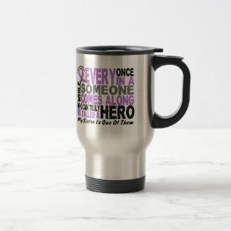 Lymphoma Hodgkin's HERO COMES ALONG 1 Sister 15 Oz Stainless Steel Travel Mug