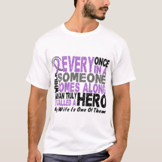 Lymphoma Hodgkin's HERO COMES ALONG 1 Wife T-Shirt