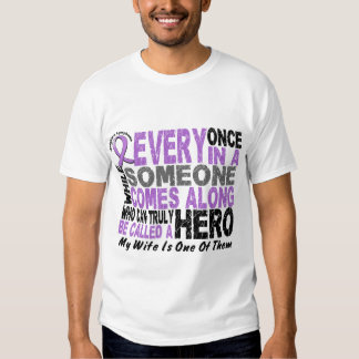 Lymphoma Hodgkin's HERO COMES ALONG 1 Wife Tee Shirt