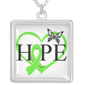 Lymphoma Hope Butterfly Heart Décor Square Pendant Necklace