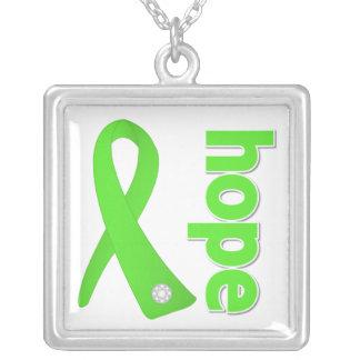Lymphoma Hope Lime Green Ribbon Square Pendant Necklace