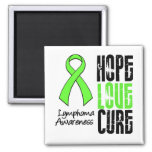 Lymphoma Hope Love Cure Ribbon 2 Inch Square Magnet