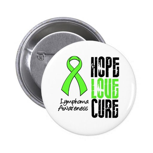 Lymphoma Hope Love Cure Ribbon Button