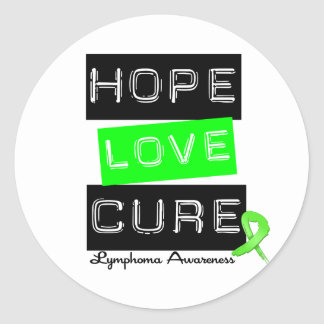 Lymphoma Hope Love Cure Round Sticker