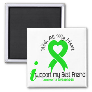 LYMPHOMA I Support My Best Friend 2 Inch Square Magnet