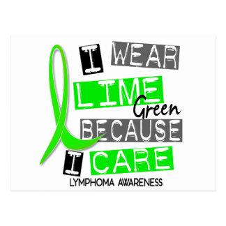 Lymphoma I Wear Lime Green Because I Care 37 Postcard