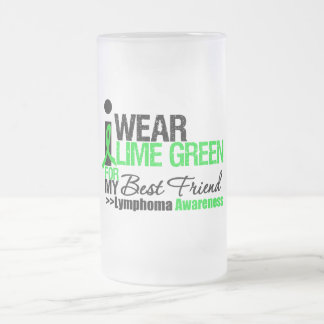 Lymphoma I Wear Lime Green For Best Friend 16 Oz Frosted Glass Beer Mug