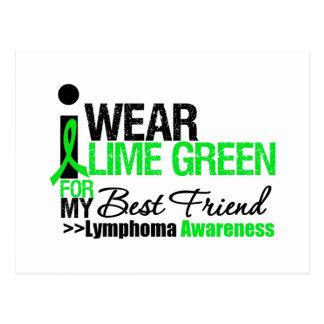 Lymphoma I Wear Lime Green For Best Friend Postcard