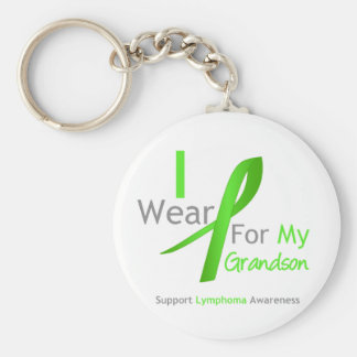 Lymphoma I Wear Lime Green For My Grandson Keychain