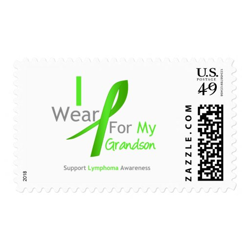 Lymphoma I Wear Lime Green For My Grandson Stamp