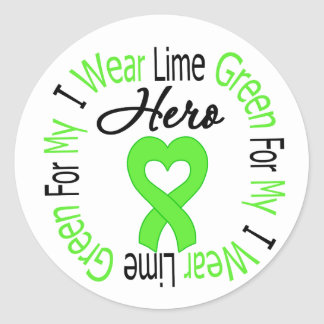 Lymphoma I Wear Lime Green For My HERO Stickers