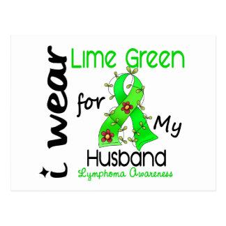 Lymphoma I Wear Lime Green For My Husband 43 Postcard