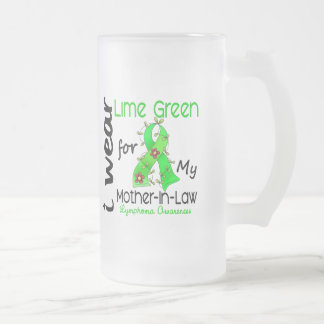 Lymphoma I Wear Lime Green For My Mother-In-Law 43 16 Oz Frosted Glass Beer Mug