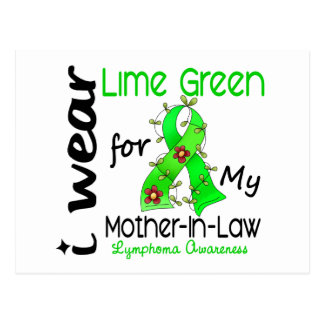 Lymphoma I Wear Lime Green For My Mother-In-Law 43 Postcard