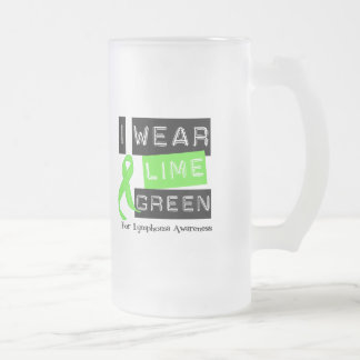 Lymphoma I Wear Lime Green Ribbon For Awareness Frosted Glass Beer Mug