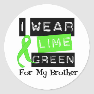 Lymphoma I Wear Lime Green Ribbon For My Brother Classic Round Sticker