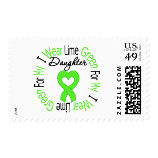 Lymphoma I Wear Lime Green Ribbon For My Daughter Stamps