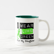 Lymphoma I Wear Lime Green Ribbon For My Daughter Two-Tone Coffee Mug