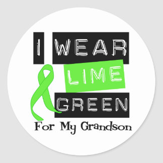 Lymphoma I Wear Lime Green Ribbon For My Grandson Classic Round Sticker