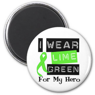 Lymphoma I Wear Lime Green Ribbon For My Hero 2 Inch Round Magnet