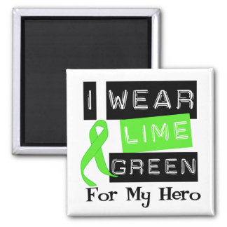 Lymphoma I Wear Lime Green Ribbon For My Hero 2 Inch Square Magnet