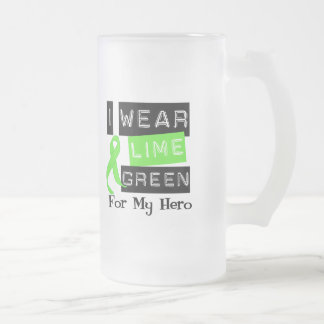Lymphoma I Wear Lime Green Ribbon For My Hero Frosted Glass Beer Mug