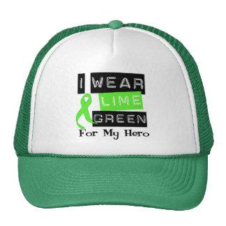 Lymphoma I Wear Lime Green Ribbon For My Hero Trucker Hat