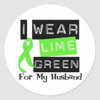 Lymphoma I Wear Lime Green Ribbon For My Husband Classic Round Sticker