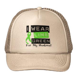 Lymphoma I Wear Lime Green Ribbon For My Husband Trucker Hat