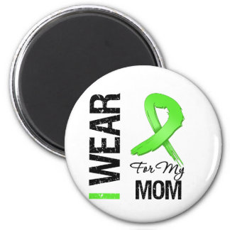 Lymphoma I Wear Lime Green Ribbon For My Mom 2 Inch Round Magnet