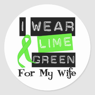 Lymphoma I Wear Lime Green Ribbon For My Wife Classic Round Sticker