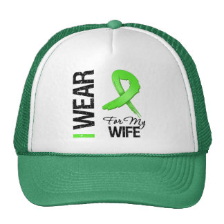 Lymphoma I Wear Lime Green Ribbon For My Wife Mesh Hat