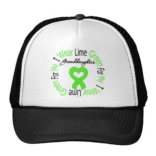 Lymphoma I Wear Lime Green Ribbon  Granddaugter Trucker Hat