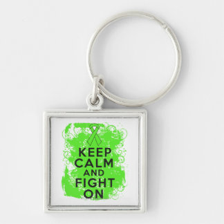Lymphoma Keep Calm and Fight On Silver-Colored Square Keychain