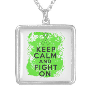 Lymphoma Keep Calm and Fight On Square Pendant Necklace