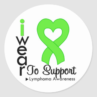 Lymphoma Lime Green Heart Ribbon Awareness Round Stickers