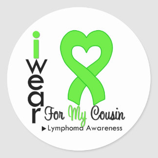 Lymphoma Lime Green Heart Support Cousin Round Stickers