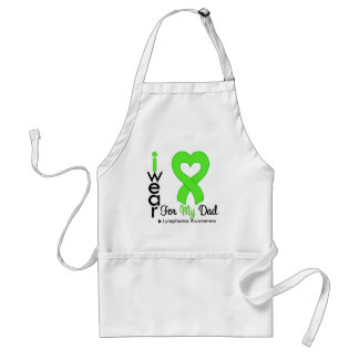 Lymphoma Lime Green Heart Support Dad Adult Apron