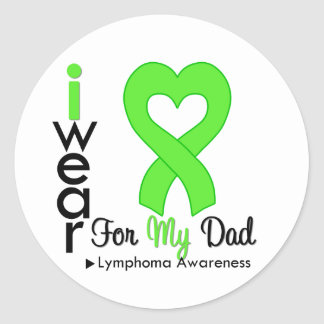 Lymphoma Lime Green Heart Support Dad Stickers