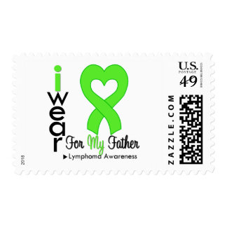 Lymphoma Lime Green Heart Support Father Stamps