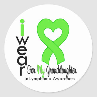 Lymphoma Lime Green Heart Support Granddaughter Stickers
