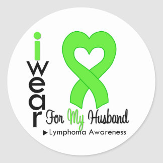 Lymphoma Lime Green Heart Support Husband Stickers
