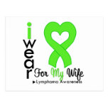Lymphoma Lime Green Heart Support Wife Postcard