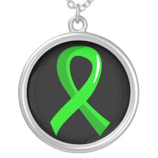 Lymphoma Lime Green Ribbon 3 Round Pendant Necklace