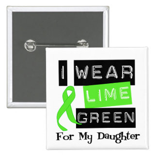 Lymphoma Lime Green Ribbon Daughter 2 Inch Square Button