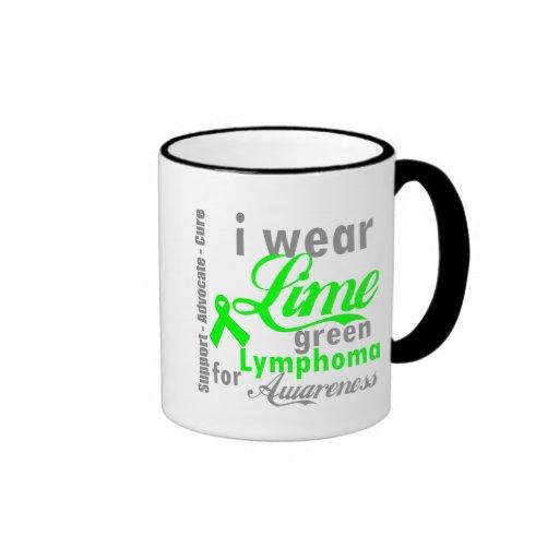 Lymphoma Lime Green Ribbon For Awareness Ringer Coffee Mug
