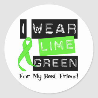 Lymphoma  Lime Green Ribbon For My Best Friend Classic Round Sticker