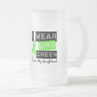 Lymphoma Lime Green Ribbon For My Boyfriend Frosted Glass Beer Mug